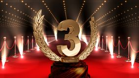 Terceiro troféu do lugar no vídeo do tapete vermelho video estoque