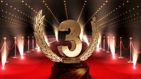 Terceiro troféu do lugar no vídeo do tapete vermelho vídeos de arquivo