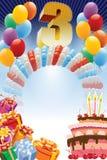 Tercer cumpleaños ilustración del vector