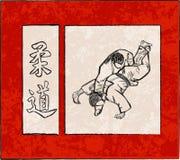 Tercera etapa cinco de la lucha del judo Foto de archivo libre de regalías