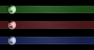 Terceros más bajos animados con el globo de giro en tres diversos colores, 4k 30fps almacen de video