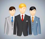 Tercet biznesmeni w kostiumach ilustracji