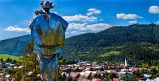 Terchova village and statue of Juraj Janosik, Low Fatra, Slovakia. Terchova village and statue of Juraj Janosik, Low )Mala) Fatra, Slovakia stock photos