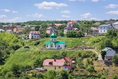Terebovlia city in Ukraine. Small town Terebovlia cityscape in Ukraine, view from old castle hill Royalty Free Stock Image