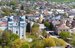 Terebovlya town (Ternopil Oblast, Ukraine). Spring view of Terebovlya town from  fortress ruins (Ternopil Oblast, Ukraine Stock Images