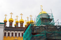 Terem churches under renovation. Moscow Kremlin. Stock Photos