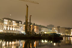 teren budowy noc Zdjęcia Stock