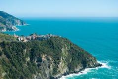 Teren Corniglia i Manarola linia brzegowa dwa 5 terre Liguria fotografia stock