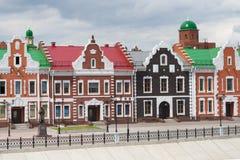 Teren Gogol i piękny dom na kwadracie Republika Mari El, Ola, Rosja 05/21/2016 Zdjęcie Stock