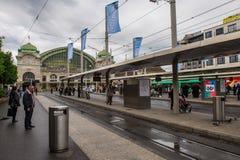 Teren i tramwajowa przerwa blisko staci kolejowej miasto Bas Obraz Stock