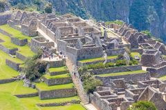 Teren portale Mach Picchu Peru trzy Acllahuasi i fotografia stock