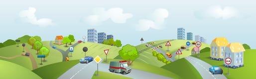 Teren z samochodami i ruch drogowy znakami Zdjęcia Royalty Free