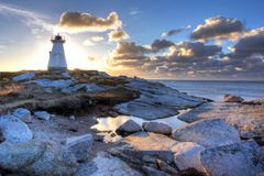 Terence Bay lighthouse. The Terence Bay lighthouse in Nova Scotia in the sunrise Stock Photo