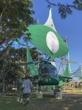 Large traditional kite and a mock up helicopter built by a local political party members. Terengganu, Malaysia-April 29, 2018 : Large traditional kite and a Royalty Free Stock Images