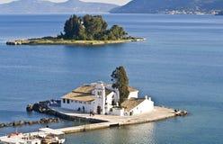 terenu Corfu pontikonisi Zdjęcie Royalty Free