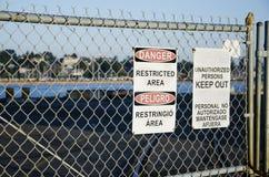 terenu niebezpieczeństwo utrzymuje znak ograniczających znaki Obrazy Royalty Free
