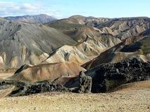 terenu sławnych koni Iceland sławny landmannalaugar gór rhyolite kołysa powulkanicznego Zdjęcie Royalty Free