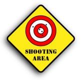 terenu strzelaniny znaka ostrzeżenie Obrazy Stock