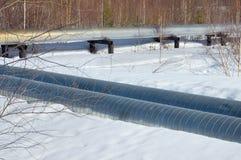terenu szczegółu gazu przemysłowy rurociąg piszczy stalowego kolor żółty Obrazy Royalty Free