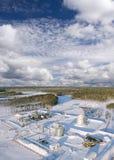 terenu szczegółu gazu przemysłowy rurociąg piszczy stalowego kolor żółty Zdjęcie Stock