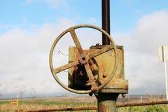 terenu szczegółu gazu przemysłowy rurociąg piszczy stalowego kolor żółty Zdjęcie Royalty Free