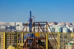 terenu szczegółu gazu przemysłowy rurociąg piszczy stalowego kolor żółty Zdjęcia Royalty Free