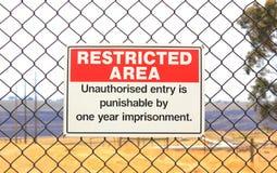 Terenu zamkniętego znak ostrzegawczy Obrazy Royalty Free
