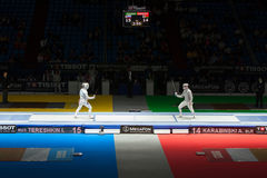 Tereshkin en Karabinski concurreren op kampioenschap van wereld in het schermen Stock Afbeelding
