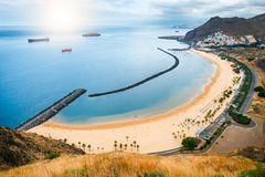 Teresitas plaża blisko Santa Cruz de Tenerife, Hiszpania obraz royalty free