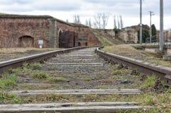 Terezin war memorial rail Stock Photos