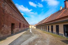 The Terezin Memorial was a medieval military fortress that was used as a concentration camp in the WW stock photography