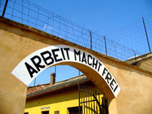 Terezin Small Fortress. Arbeit Macht Frei - entrance to Gestapo prison in Terezin Stock Image