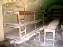 Terezin Small Fotress. Cell with plank beds in Terezin prison Royalty Free Stock Photos