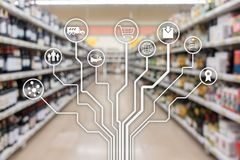 ?terf?rs?ljnings- f?r E-kommers f?r begreppsmarknadsf?ringskanaler automation shopping p? suddig supermarketbakgrund vektor illustrationer