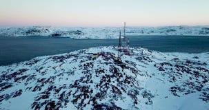 Красивый вид с воздуха Teriberka России во время зимы акции видеоматериалы