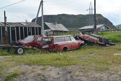 TERIBERKA, RUSSIA. A dump of old cars in Murmansk region Stock Photos