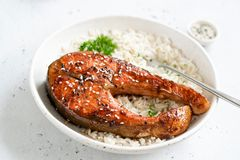 Teriyaki三文鱼用米 免版税图库摄影