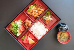 Teriyaki chicken bento set. Japanese food style Royalty Free Stock Photography