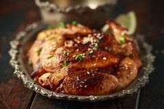 Teriyaki chicken breast mini fillets with sweat chilli dip sauce royalty free stock photos