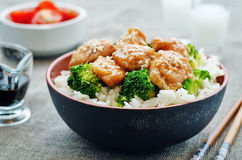 Teriyaki chicken and broccoli stir fry with rice. The toning. selective focus Stock Image