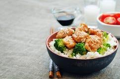 Teriyaki chicken and broccoli stir fry with rice Stock Photos