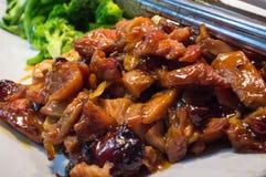 Teriyaki Chicken Buffet. Chinese food buffet self service Teriyaki chicken with broccoli Stock Photo