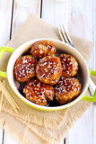 Teriyaki chicken meatballs stock photo