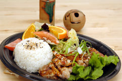 Teriyaki Chicken Plate stock photography