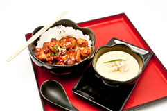 Teriyaki Chicken Rice and Chinese Steam egg Royalty Free Stock Images