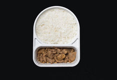 Teriyaki chicken & rice fastfood in supermarket.  Royalty Free Stock Image