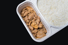 Teriyaki chicken & rice fastfood in supermarket.  Royalty Free Stock Photos