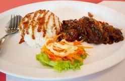 Teriyaki chicken and rice Stock Image
