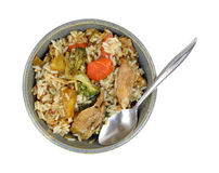 Teriyaki Chicken Rice Vegetables Bowl Spoon Stock Images