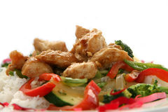 Teriyaki Chicken Stir fry. With White Rice Royalty Free Stock Photography